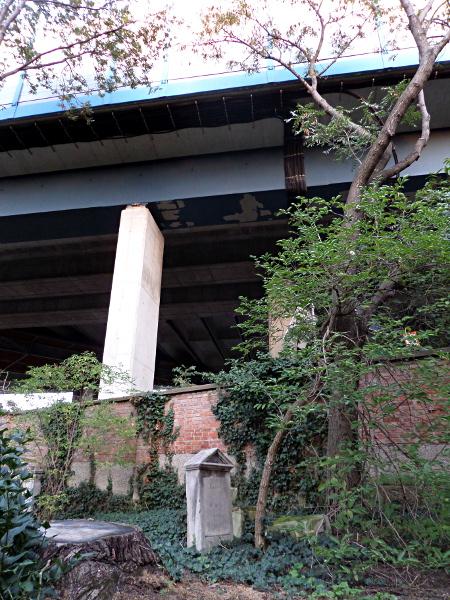 Grab neben Autobahnbrücke
