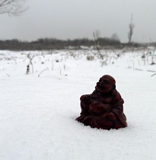 Lachender Buddha im Schnee