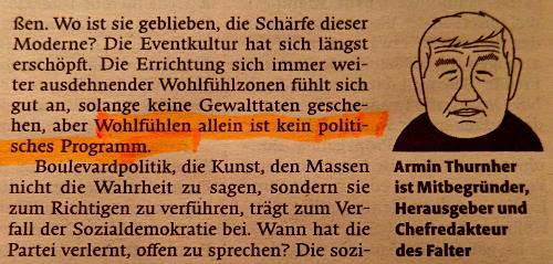 Armin Thurnher Wohlfühlpolitik